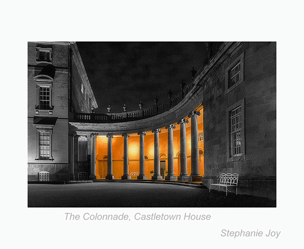 Ionic Colonnade, Castletown lit at night showing it's glorious features